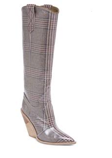 Fendi Plaid Leather Tall Boots