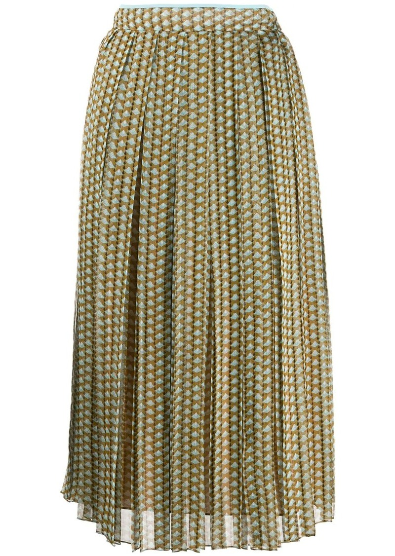 Fendi pleated patterned skirt