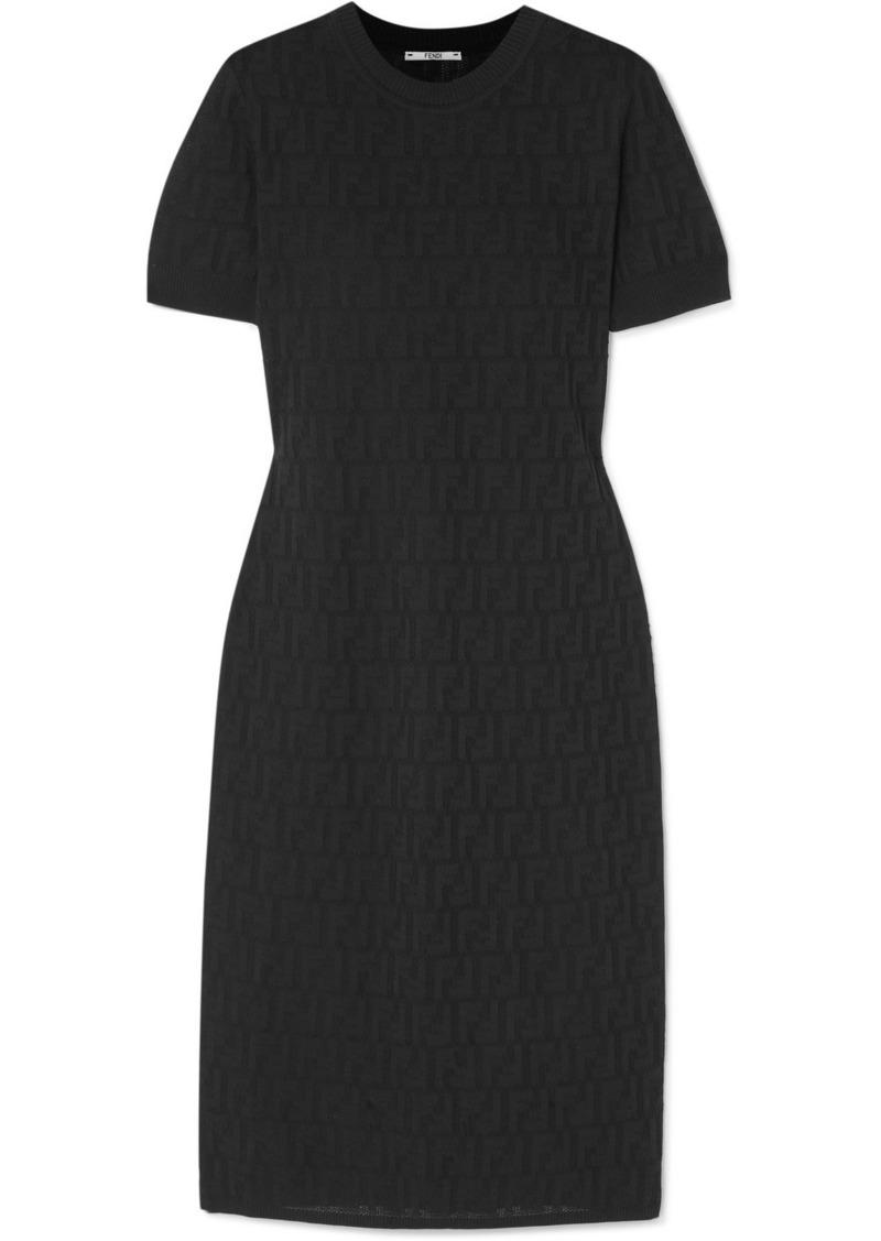 Fendi Pointelle-knit Cotton-blend Midi Dress