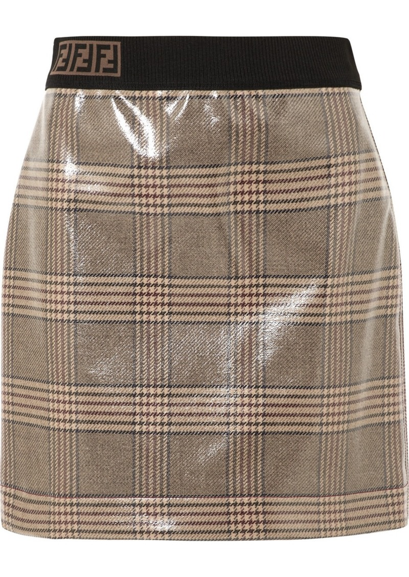 6da12b7438 Fendi Prince Of Wales Checked Glossed-wool Mini Skirt