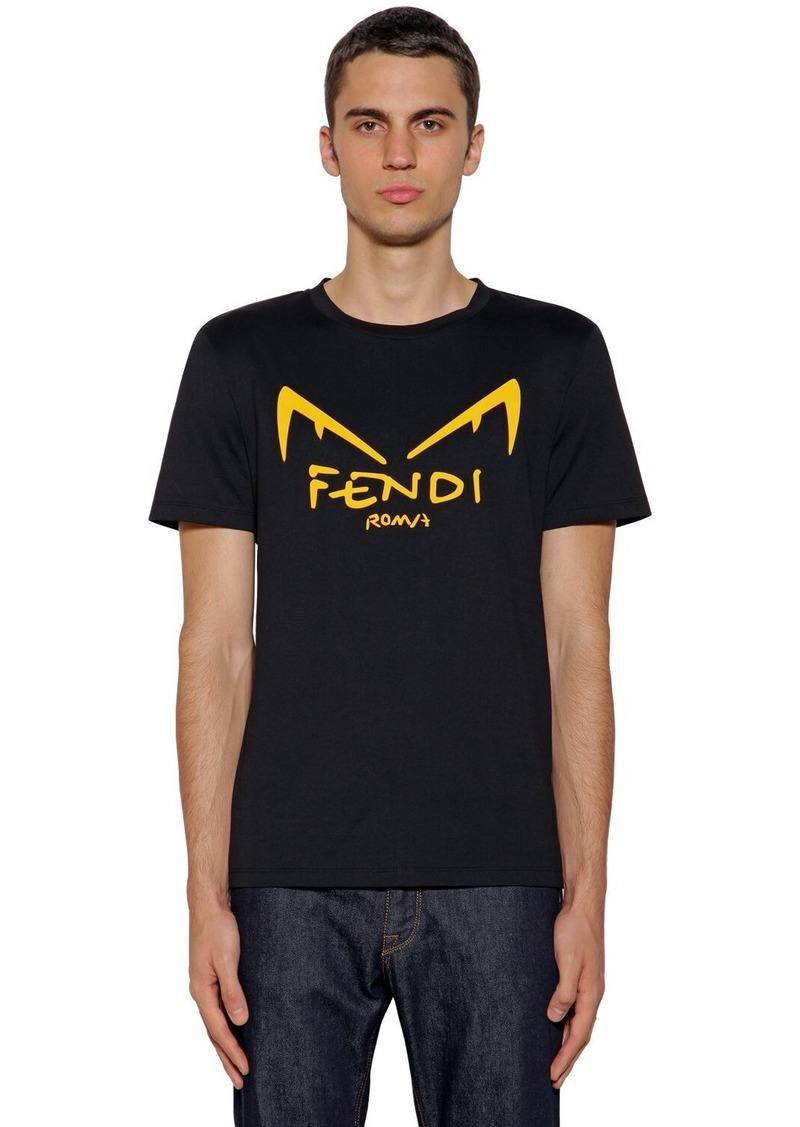 Fendi Printed Rubber Cotton Jersey T-shirt