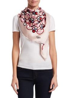 Fendi Printed Silk & Wool F Stole