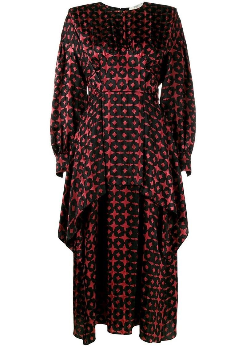 Fendi Printed Silk Dress with Asymmetric Layers