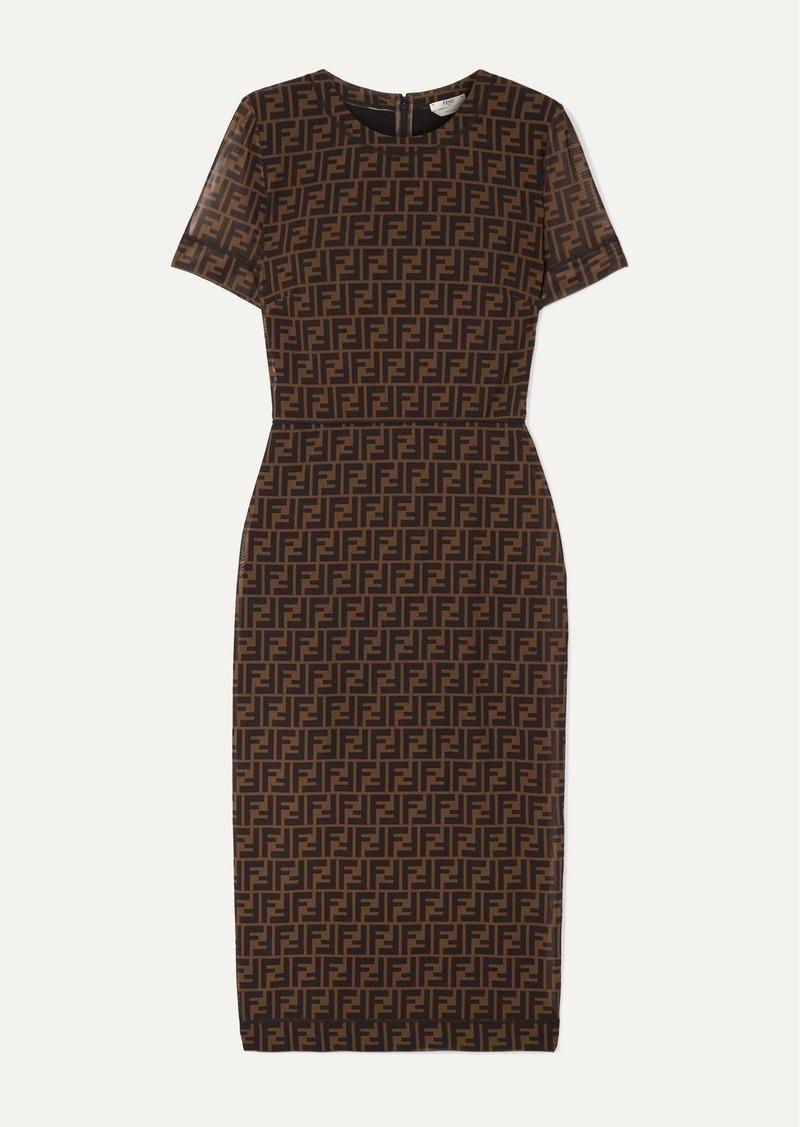 Fendi Printed Stretch-mesh Midi Dress
