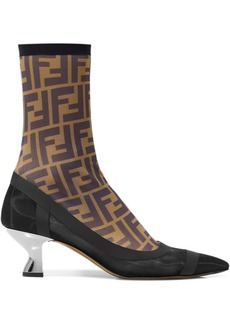 Fendi Printed Stretch-mesh Sock Boots