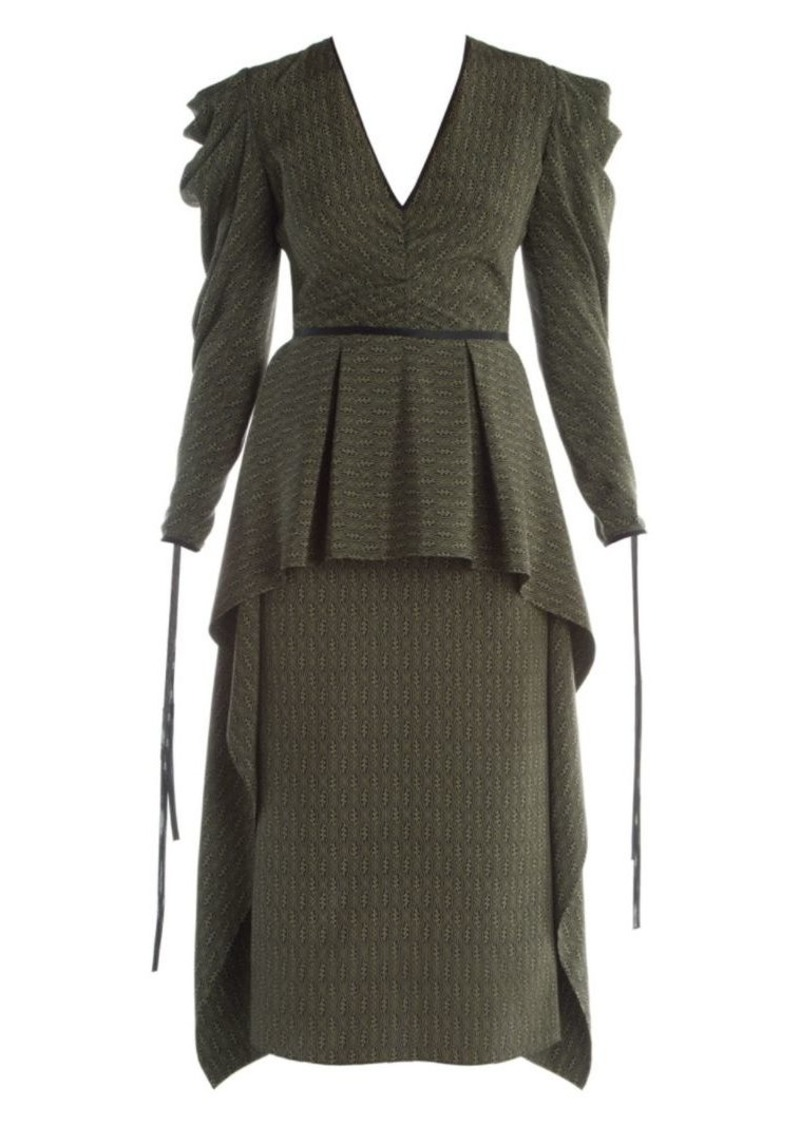 Fendi Puff Sleeve Kimono Print Satin Dress