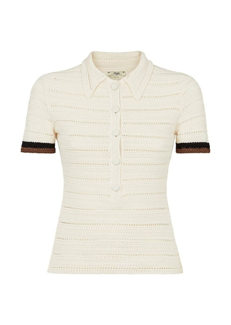 Fendi Pulled Crochet Cotton Polo Shirt