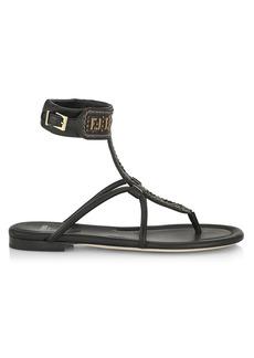 Fendi Rafia Logo Gladiator Sandals