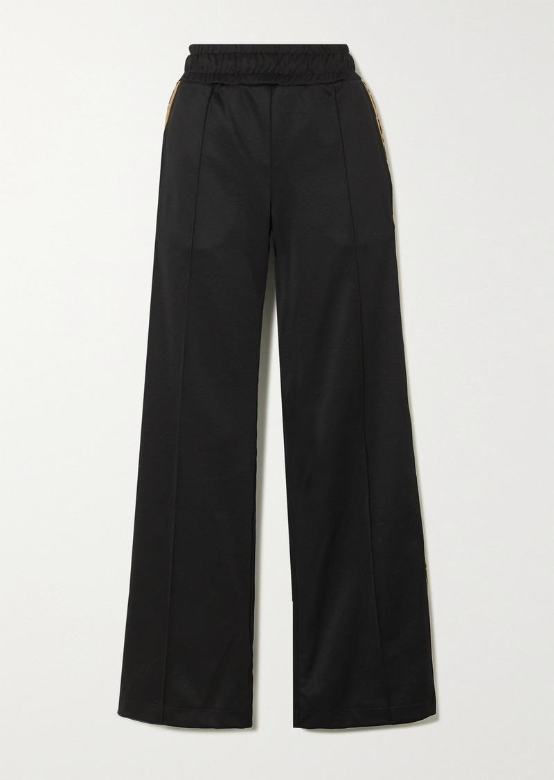 Fendi Rama Jacquard-trimmed Jersey Wide-leg Track Pants