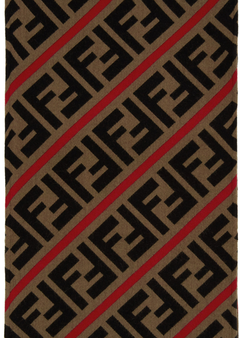 Red & Brown Wool 'Forever Fendi' Scarf