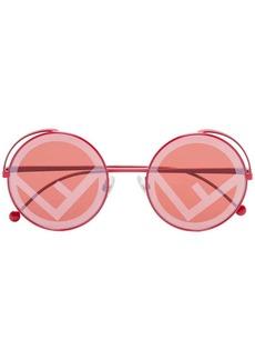 Fendi logo lens round sunglasses