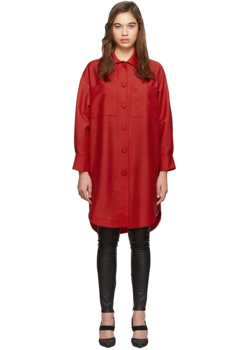 Fendi Red Oversized Karligraphy Shirt