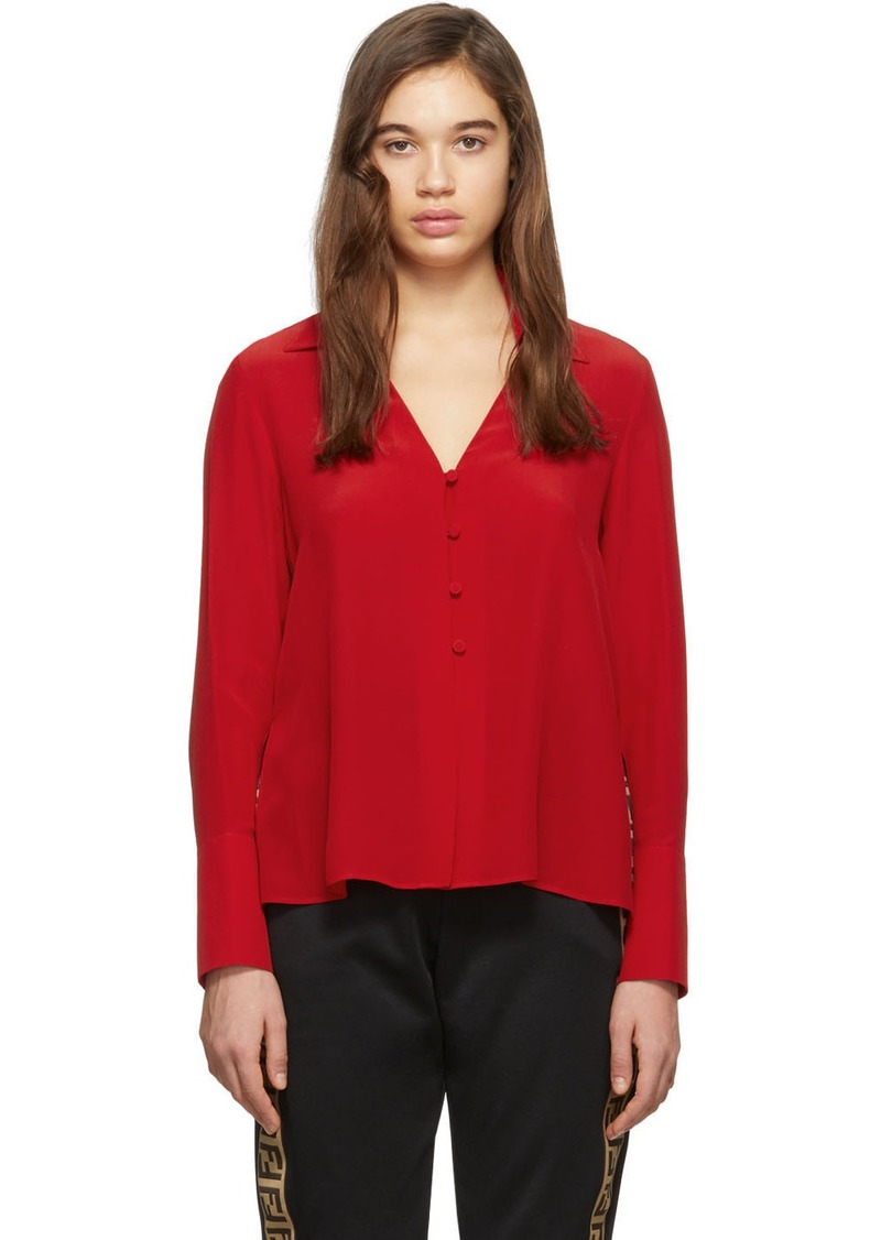 Fendi Red Silk Deep V-Neck Blouse