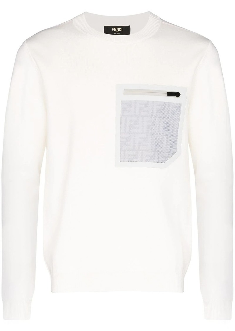 Fendi reflective logo pocket jumper