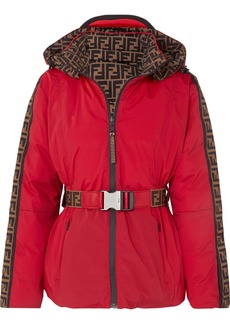 Fendi Reversible Belted Printed Shell Down Jacket