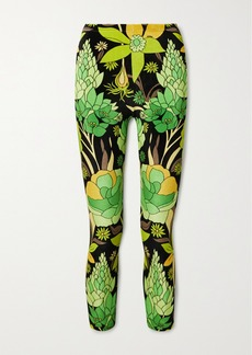 Fendi Reversible Cropped Printed Velvet And Stretch-jersey Leggings