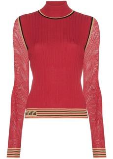 Fendi ribbed knit turtleneck top