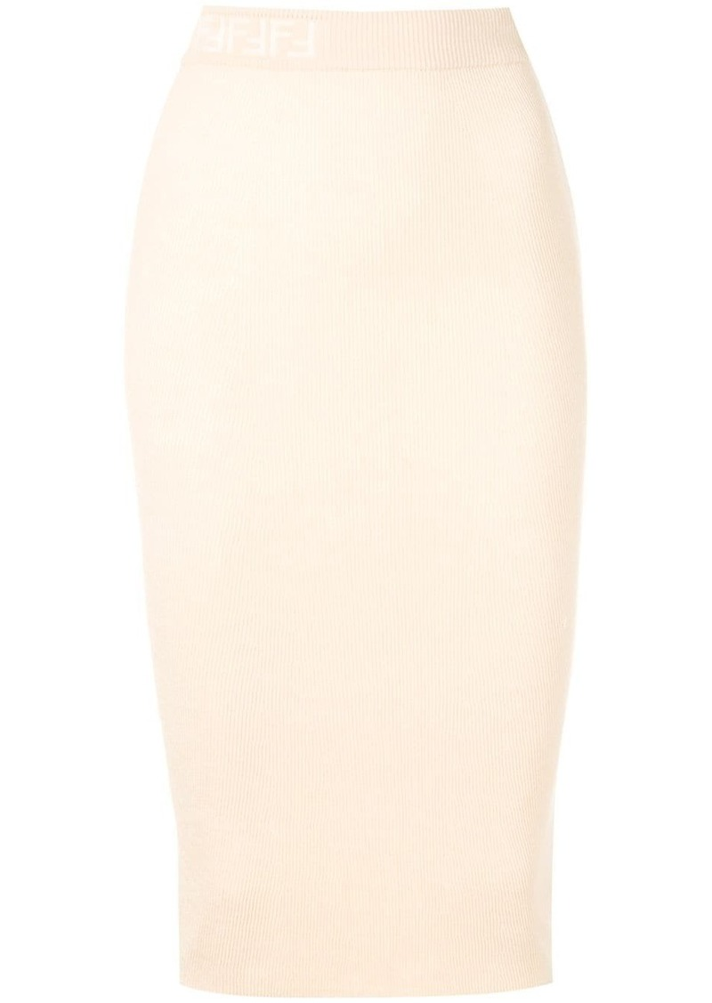 Fendi ribbed logo skirt