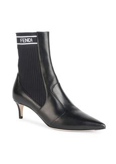 Fendi Rockoko Leather Sock Booties