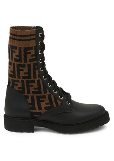 Fendi Rockoko Logo Leather Combat Boots