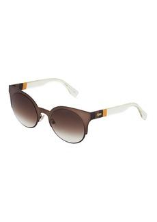 Fendi Round Cat-Eye Metal Sunglasses