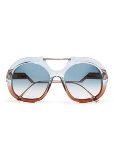 Fendi Round-frame two-tone acetate and rose gold-tone sunglasses