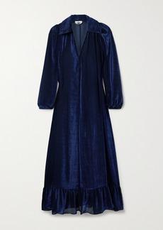 Fendi Ruffled Devore-velvet Midi Dress