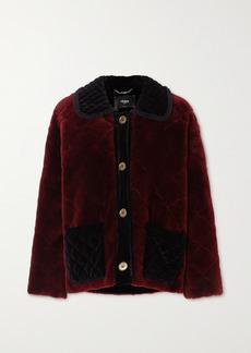 Fendi Ruffled Velvet-trimmed Quilted Shearling Coat