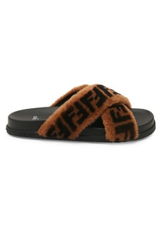 Fendi Shearling FF Logo Leather & Dyed Shearling Slides