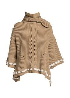 Fendi Short-Sleeve Mink Fur-Trim Cashmere Knit Turtleneck Sweater