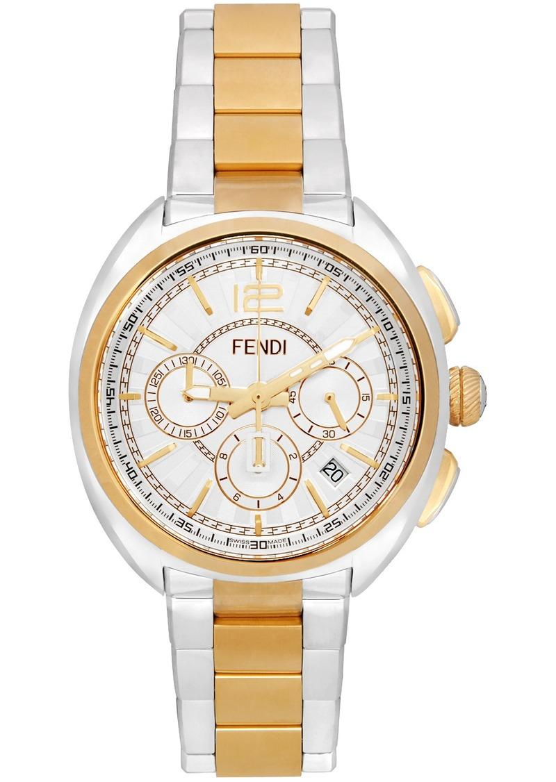 Silver & Gold 'Momento Fendi' Chronograph Watch