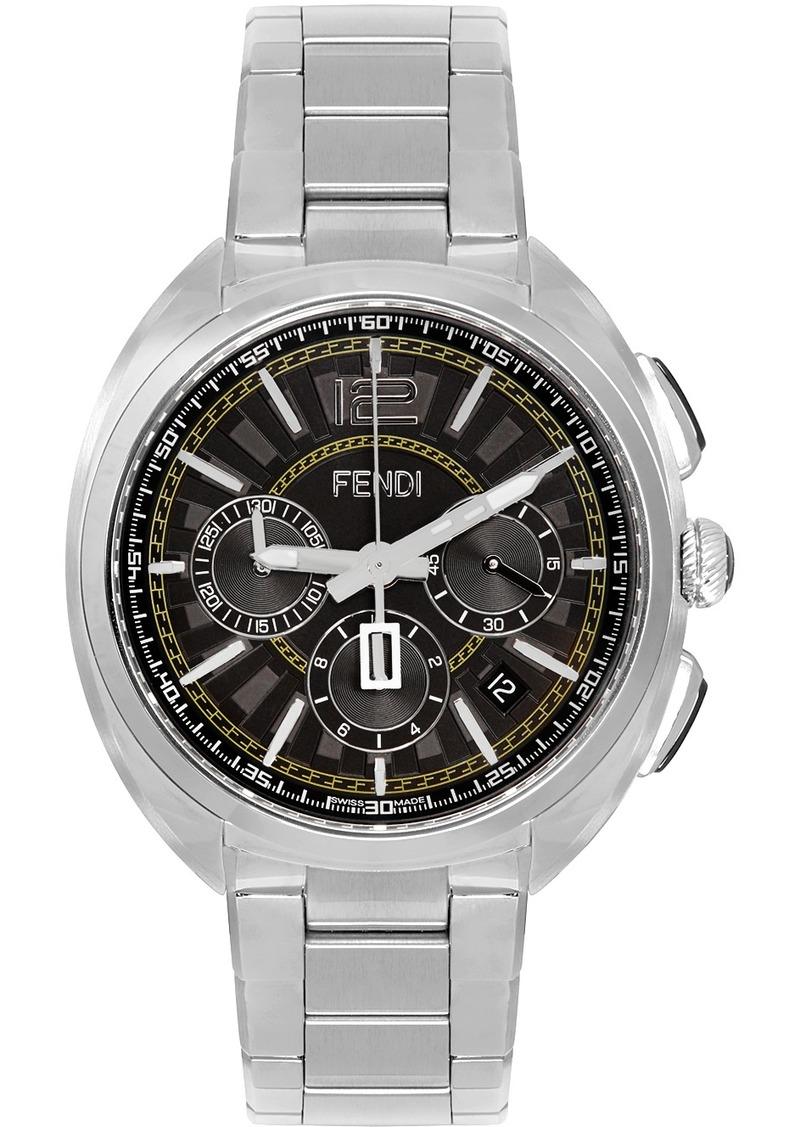 Silver 'Momento Fendi' Chronograph Watch