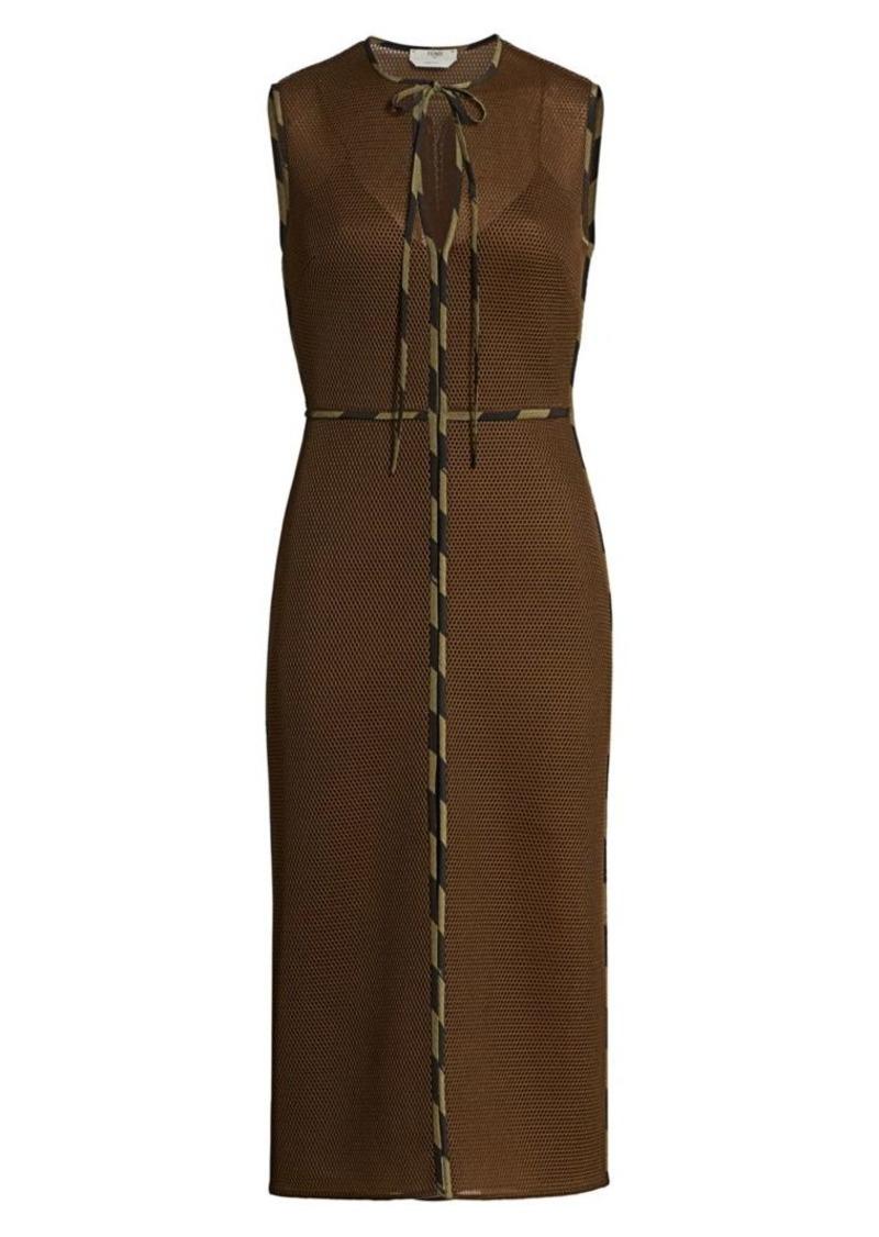 Fendi Sleeveless Mesh Sheath Dress