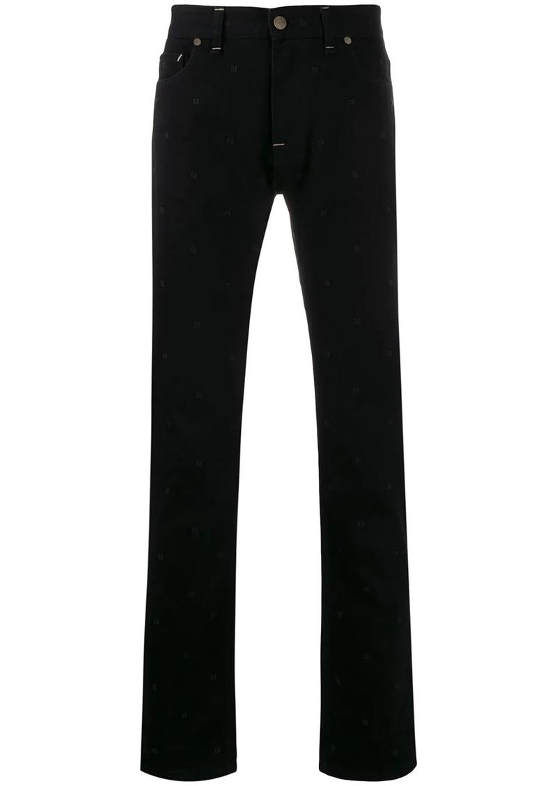 Fendi slim-fit embroidered monogram jeans