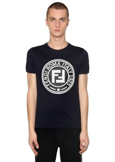 Fendi Slim Rubber Logo Patch Jersey T-shirt