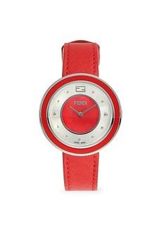 Fendi Stainless Steel, Fox Fur & Leather-Strap Watch