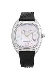 Fendi Stainless Steel, Mother-Of-Pearl, Alligator & Leather Strap Watch