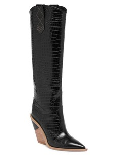 Fendi Stamped Croc Leather Knee-High Cowboy Boots