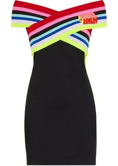 Fendi striped criss-crossed neck dress