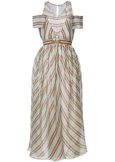 Fendi striped flared midi dress