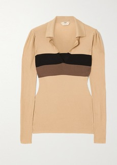 Fendi Striped Ribbed Silk Sweater