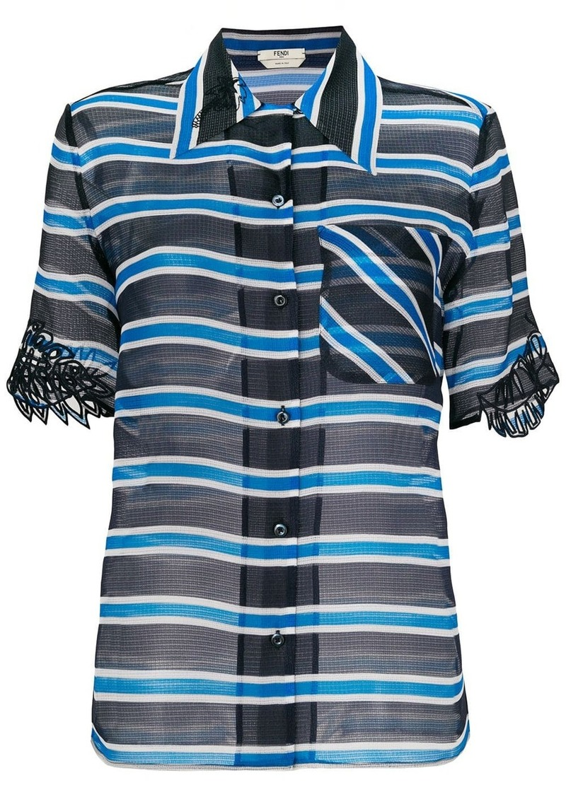 Fendi striped sheer blouse