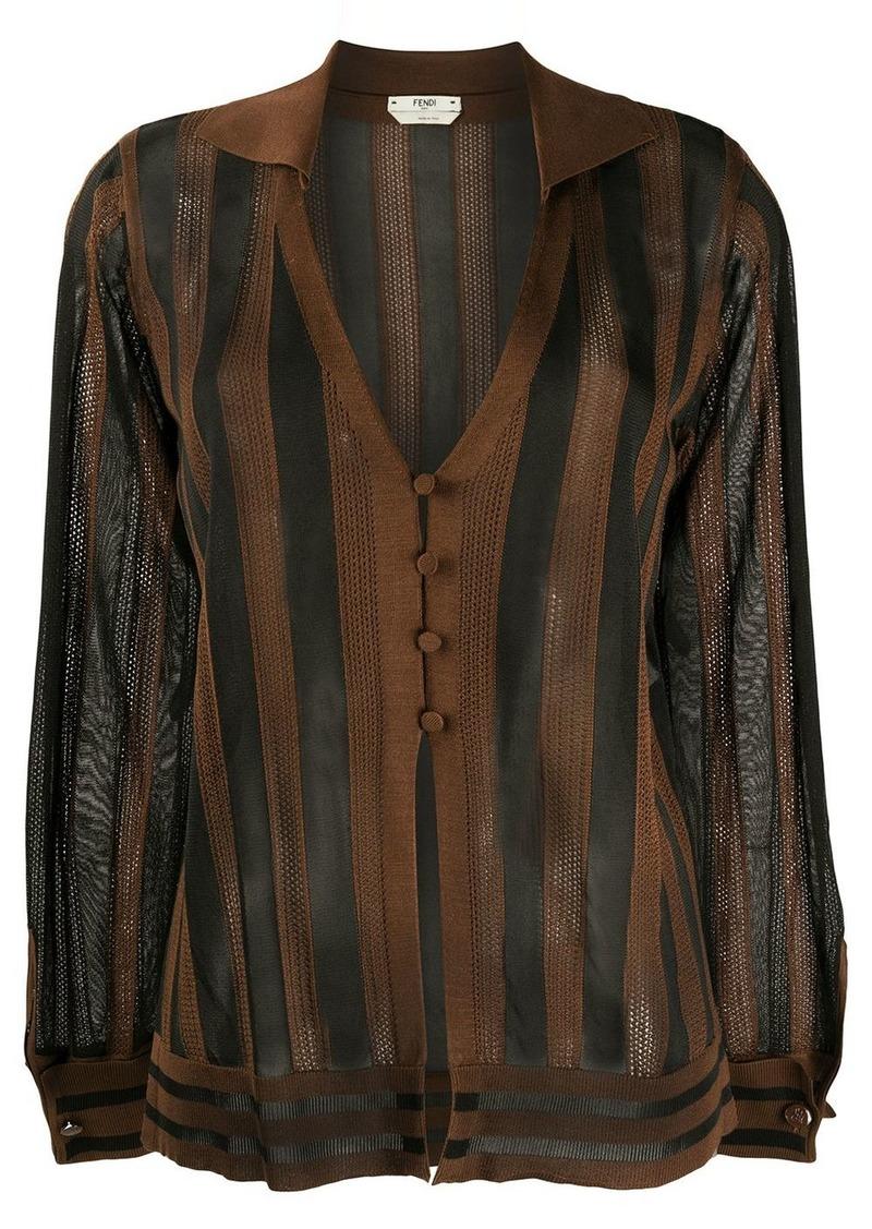 Fendi striped sheer cardigan