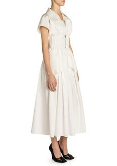 Fendi Taffeta Cap Sleeve Zip Peplum Dress