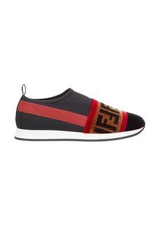 Fendi brown Colibri leather and mesh sneakers