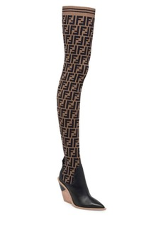 Fendi Thigh-High Knit Leather Boots