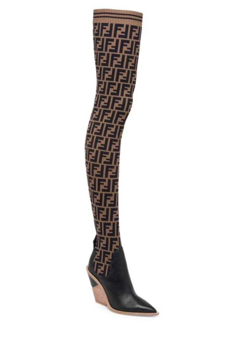 Fendi Thigh-High Logo Sock Boots | Shoes