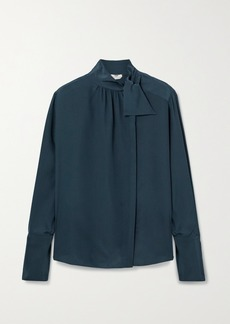 Fendi Tie-detailed Silk Crepe De Chine Blouse