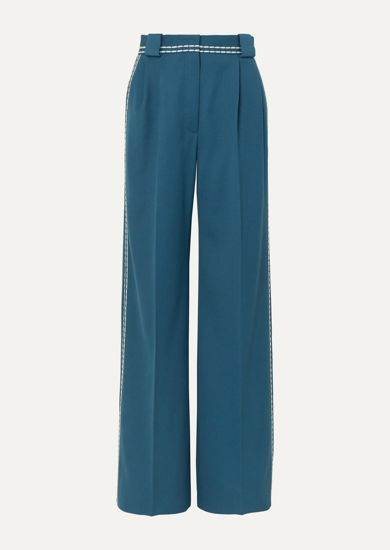 Fendi Topstitched Wool-drill Wide-leg Pants