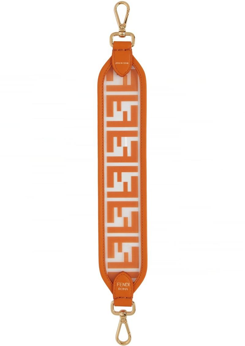 Transparent & Orange PU Mini 'Forever Fendi' Strap You Bag Strap